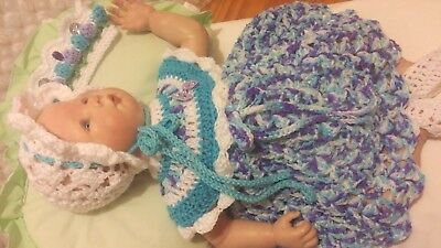 "New Hand Made Crochet Reborn Doll Dress Set White Pink Purple Fit's19""- 23"" Doll"
