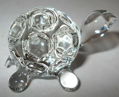 "TURTLE, TINY CRYSTAL FIGURINE, 1 3/4"" LAND TURTLE W/CUTE, ROUND SHELL, 1980's!"