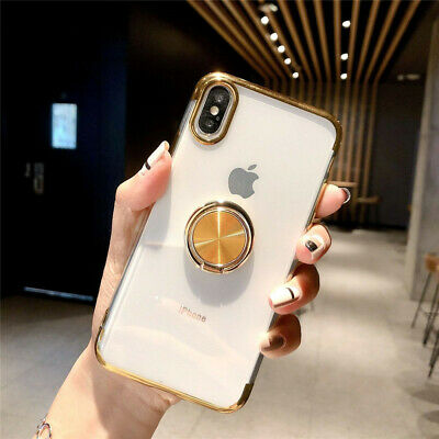 Magnetic TPU Rubber Case Cover With Ring Stand Holder For iPhone XR XS MAX X 7 8