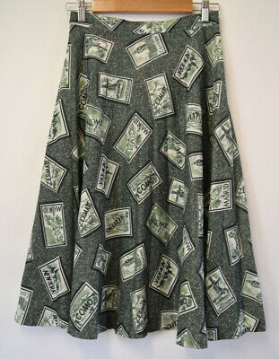 Vintage 1970s Midi Skirt by Kitly Fashions Melbourne Novelty Print Green S 8-10