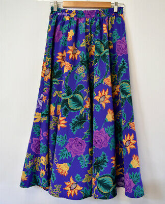 Vintage Bright Floral Coloured Skirt Size Mischief 1980s Size Small 10