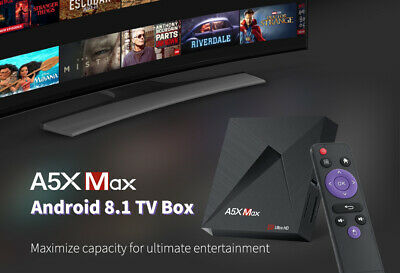 A5X Max+ Android 8.1 4GB+32GB TV BOX 4K HDR 3D Videos WiFi LAN Ethernet BT 4.1