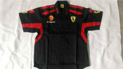 2019 Cotton FERRARI Red black Embroidery EXCLUSIVE F1 team racing Short-shirt