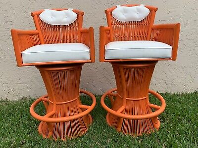 Vintage Mid Century Bamboo Swivel Bar Stools In The Manner Of Bonacina
