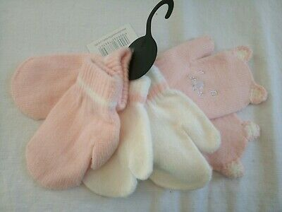 New Baby Girl 3 Pack Magic Mitts One Size Baby Mittens Pink Baby Girls Gloves