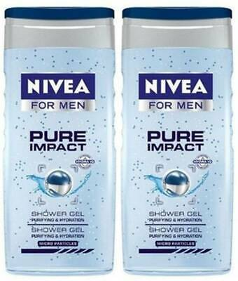 Men Body Face & Hair Hydration 250 ml Pure Impact Shower Gel Nivea For PACK OF 3