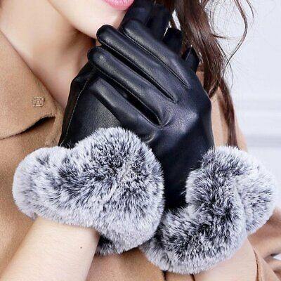 Ladies women Leather Winter Gloves Premium Quality Genuine Soft Driving Warm