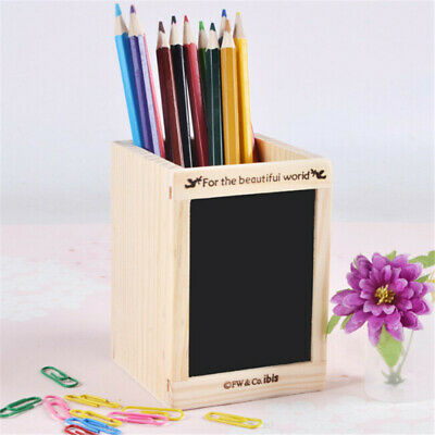 Office Home Stationery Retro Desktop Wood Pen Pencil Square Stand Tabletop N7