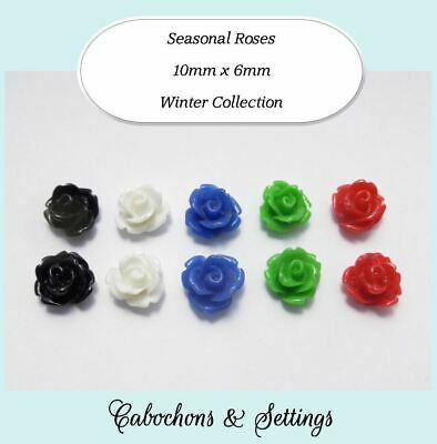 Resin Cabochon 5 Pairs 5 Colours Roses 10mm Retro Flowers Winter Colour Set FP