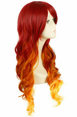 For Cosplay Starfire Wig Women Long Wavy Curly Fire Orange Red Ombre Halloween
