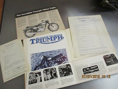 1958 Triumph Sales Models Johnson Motors Sales Brochure Bill Krause Motorcycles