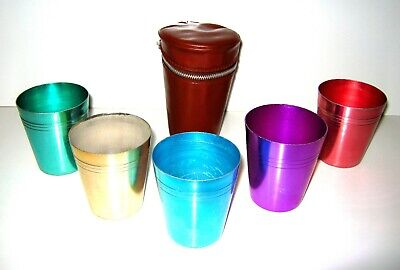 Vintage Set of 5 Retro Anodised Aluminum Cups Harlequin Pattern & Carry Case