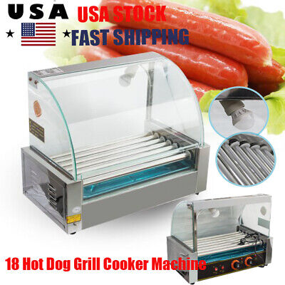 【US】Commercial 18 Hot Dog Hotdog 7 Roller Grill Cooker Machine W/Cover Home Use