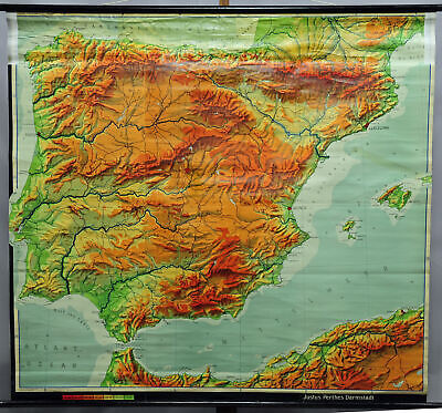 vintage poster map Spain Portugal Iberian Peninsula rollable wall chart
