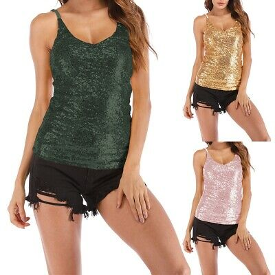 Women Sexy V-neck Sleeveless T-Shirt Sequined Strappy Camisole Vest Tank Top Hot