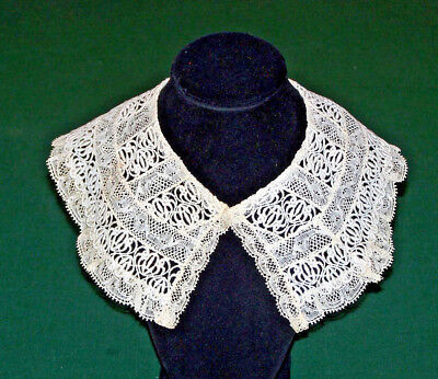EXQUISITE ANTIQUE BOBBIN LACE COLLAR, SOFT IVORY PATINA, EX. CONDITION, c1920
