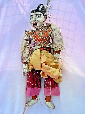 "Vintage Burmese Hand Carved Multi Jointed Marionette String Puppet 28"" Tall Vgc"
