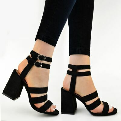 Womens Ladies Strappy Block Low High Heels Sandals Wide Strap Summer Party Size