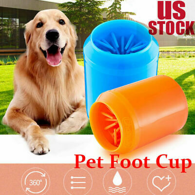 Portable Dog Paw Cleaner Pet Cleaning Brush Cup Dog Foot Cleaner Feet Washers US