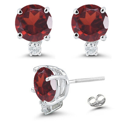 2.1Ct Round Cut Natural Blue Garnet Gemstone Earrings 14K Solid White Gold