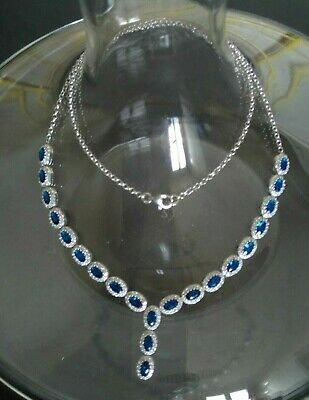 AAA Quality 925 Sterling Silver Jewelry Top Ceylon Blue Sapphire Lady Necklace