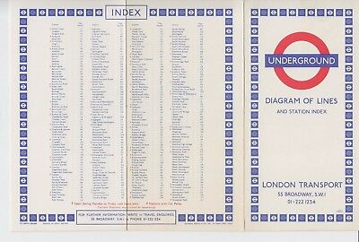 1971 London Transport Underground Map Diagram of Lines and Station Index ref.371