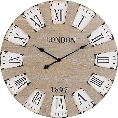 Large Ø 70 cm Wooden Wall Clock Decorative Roman Numerals Indoor Office Home