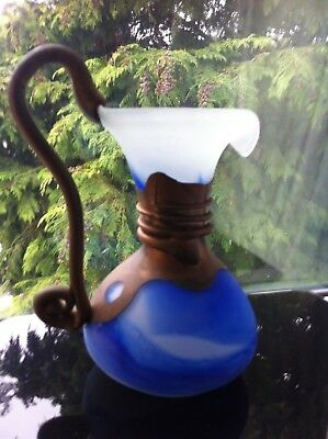 Vintage Murano Opaque & Blue Wine Decanter Water Jug Décor Art Home