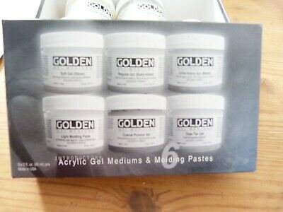 5 x golden acrylic mediums & moulding pastes + 8 large chipboard shaped plaques