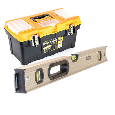 Stanley STA043624 FatMax Spirit Level 3 Vial 60cm + 19inch/49cm Tool Storage Box