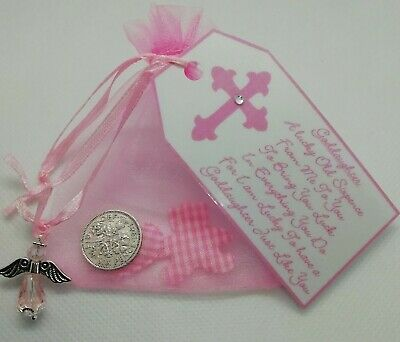 LUCKY SIXPENCE GODDAUGHTER CHRISTENING DAY GIFT **with Teddy & Heart**