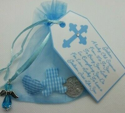 LUCKY SIXPENCE GODSON CHRISTENING DAY GIFT** with Teddy & Heart**