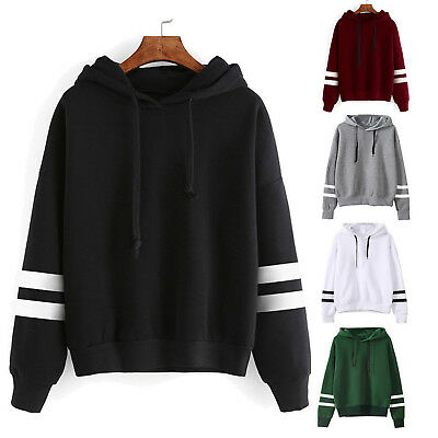 Women's Long Sleeve Hoodies Sweatshirt Jumper Hooded Pullover Tops Blouse Coat