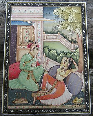 Exquisite Vintage Mughal Style Pahari School Indian Miniature Painting