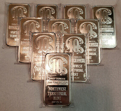 Northwest Territorial 10 ounce Silver Bar - Some have slight toning