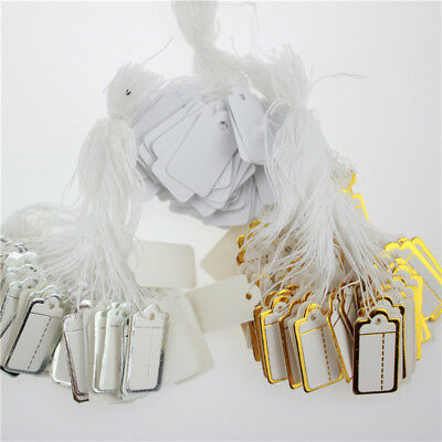 100Pcs Paper Jewelry Clothes Label Price Tags Swing With Elastic Tied Strings AU