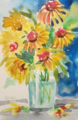 Sunflowers vase water still life watercolor painting art floral Delilah