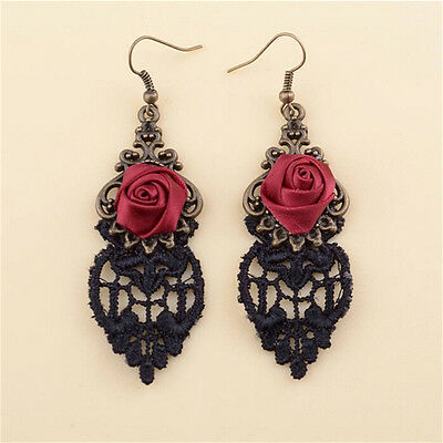 Aestheticism Gothic Victorian Retro Lace Vintage Pendant Earrings XDS