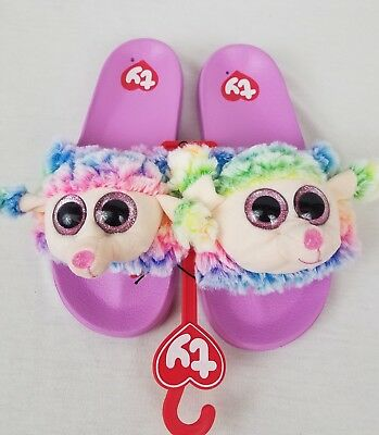 c8f82b7aff5 TY Beanie Boos Slides RAINBOW Poodle Dog 2 3 Slippers Flip Flops Sandals  Shoes