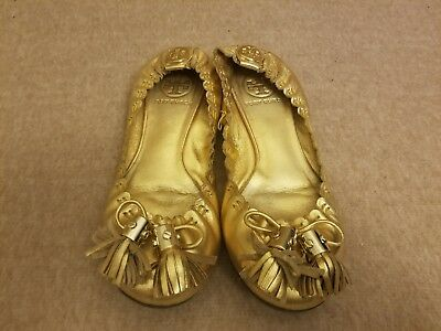 40bb52f9f4a9 Tory Burch Women Leather Gold Boat Tassel Ballet Flats Slip On Shoes Size 5  M