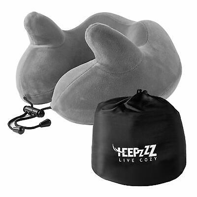 HEEPZZZ Memory Foam Travel Neck Pillow with Soft 4 Way Plush Cover Grey