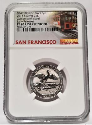 2018-S Silver 25C Cumberland Island Quarter NGC PF70 REVERSE PROOF - Car Label -