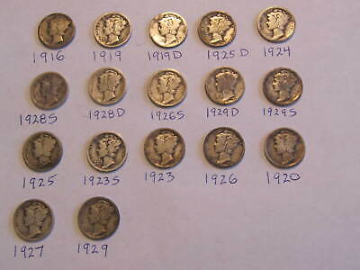 Lot of 17: Mercury Dimes 1916-1929 90% Silver