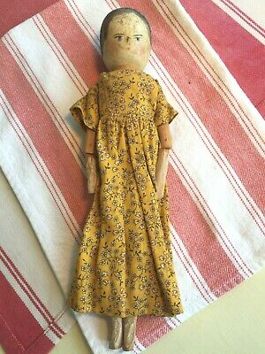 Antique Peg Wooden Child's Doll - Primitive Style - Hand Made