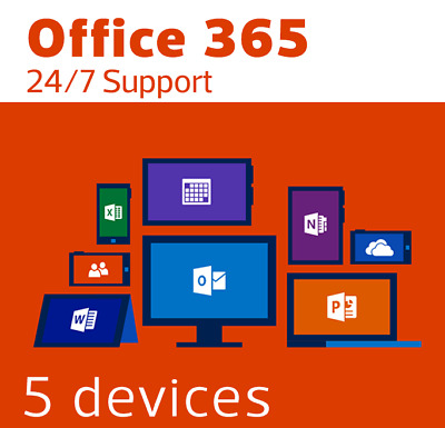 INSTANT Microsoft Office 365/2016/2019 Pro LICENCE  5 Devices Windows ONEDRIVE