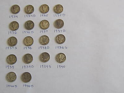 Lot of 18: Mercury Dimes 1934-1940 90% Silver