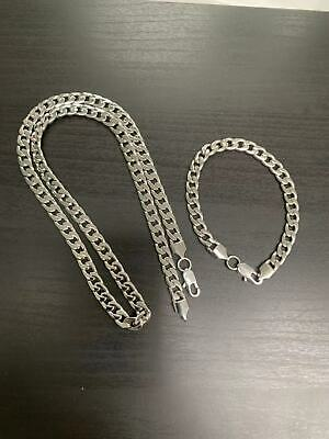 """18""""-36"""" Stainless Steel Silver Tone Chain Cuban Curb Mens Necklace Bracelet 7mm"""