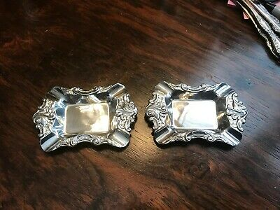"""Pair of WALLACE """"Baroque"""" Silverplate Ashtray / Butter Pat Dish 733"""