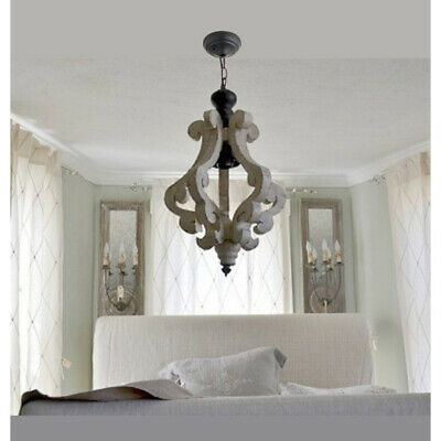 Rustic Wood Chandelier Antique Vintage Lighting Ceiling Fixture Decor Pendant