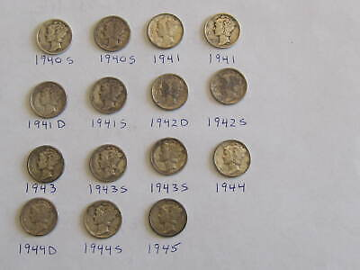 Lot of 15: Mercury Dimes 1940-1945 90% Silver